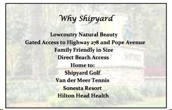 Why Shipyard - Hilton Head Island